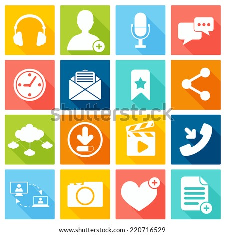 Social network icons flat set with web interface elements isolated vector illustration - stock vector