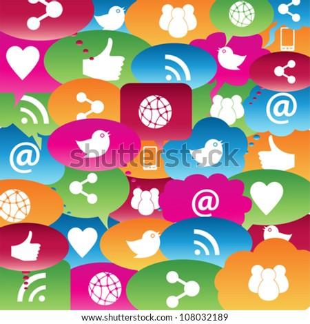 Social network icons in talk bubbles