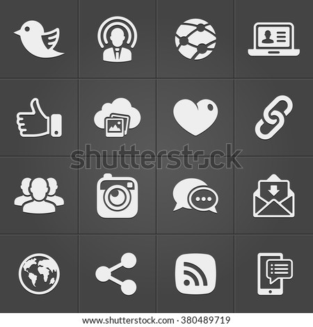 Social network icons on black set. Vector illustration EPS - stock vector