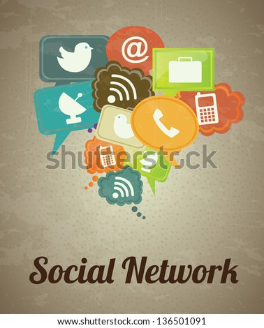Social network icons over vintage background vector illustration