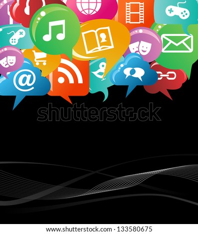 Social network icons set in colorful bubble speech background. Vector file layered for easy manipulation and custom coloring. - stock vector