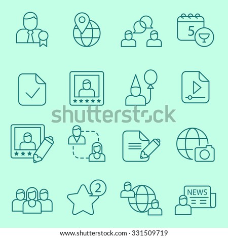 Social network icons, thin line design - stock vector