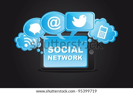 social network icons with tablet over black background. vector - stock vector