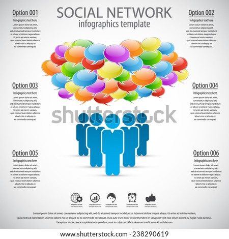 Social network infographics - Modern infographics process template with paper elements.EPS 10 vector. Icons and text for 6 options. Can be used for any project.All elements in separate layers - stock vector