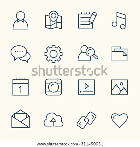 Social network line icons - stock vector