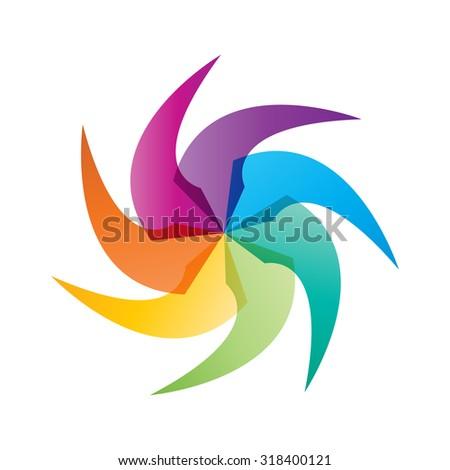 Social Network logo, Group of 7 people, friend, team member, women, girl, child, business men. - stock vector