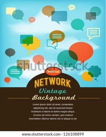 social network, media and communication in vintage style - stock vector