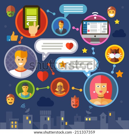Social network. ?olor vector flat illustration: media masses, virtual communication, chat, internet, dating, love,  online, game, avatar users - stock vector