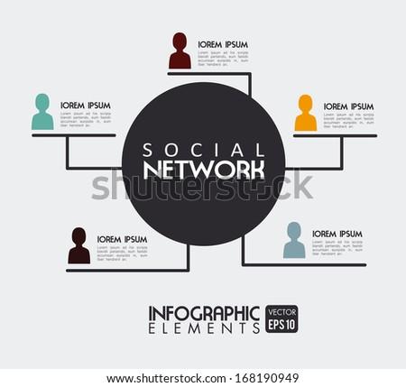 social network over white background vector illustration - stock vector
