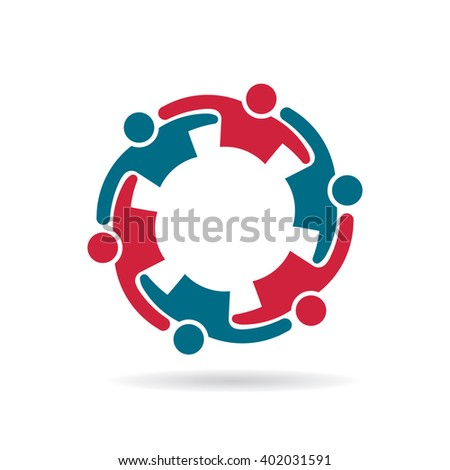 Social network people group Logo. Vector graphic design illustration - stock vector