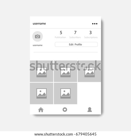 Social network photo frame with shadow, Profile page, vector illustration