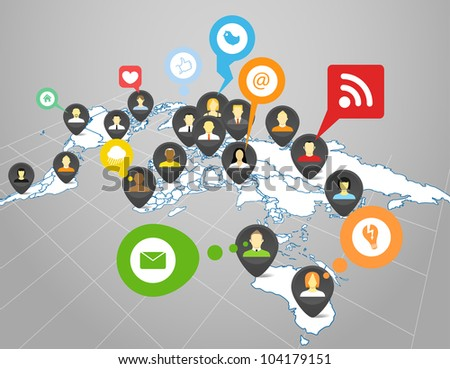 Social network scheme on the Earth map in perspective - stock vector