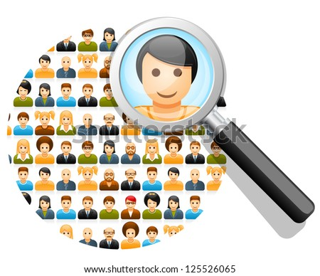 Social network search and connections concept with magnifying glass - stock vector