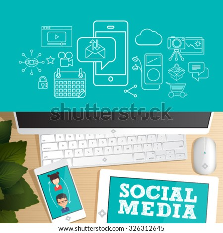 Social network, social media, mobile business. Top view vector of Office desk table. Concept for website banner, background and marketing material.  - stock vector