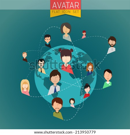 Social Network stylish Avatar Set of girls and guys and women and men connected. Vector flat design illustration easy editable for Your design. - stock vector