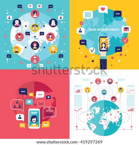 Social Network Technology banner set User Communications on web concept - stock vector
