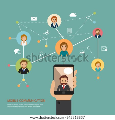 Social network telephone communication global computer stock vector social network telephone communication in the global computer network connection people publicscrutiny Images