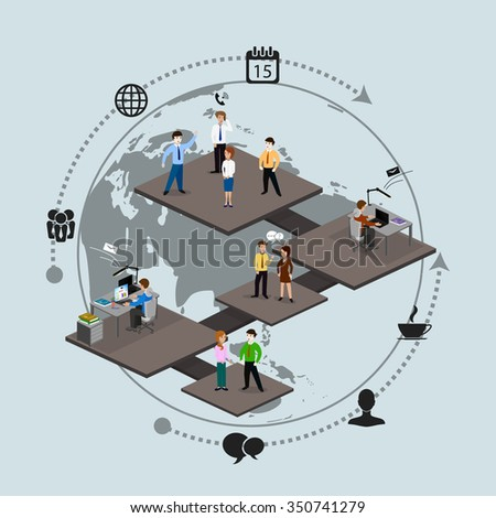 Social network. The concept of communication between people via the internet. - stock vector