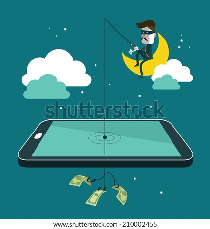 Social network thief stealing money by fishing dollar banknote from wallet on screen of smart phone. Flat design vector illustration  - stock vector