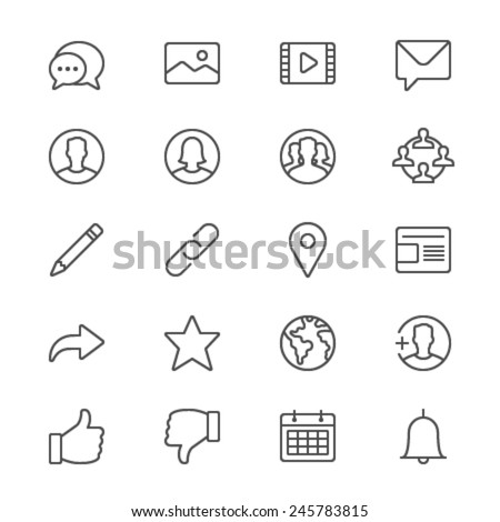 Social network thin icons - stock vector