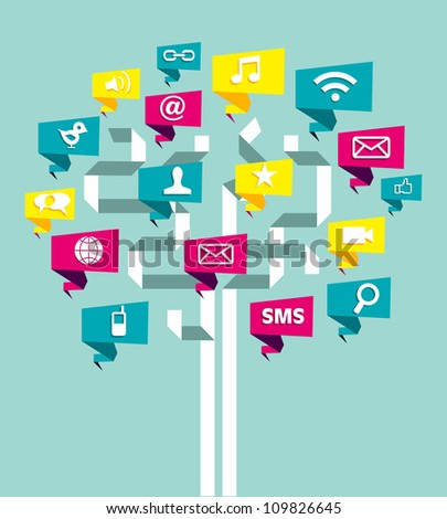 Social network tree business plan with icon leaf. Vector illustration layered for easy manipulation and custom coloring. - stock vector