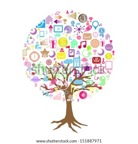 Social network tree with media icons leaf.  - stock vector