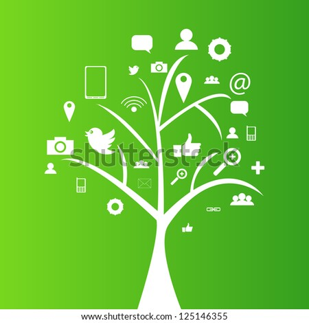 Social network tree with media icons, pictograms | EPS10 Editable Vector Background - stock vector