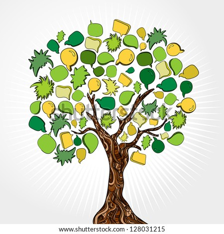 Social network tree with speech bubbles leaves. Vector illustration layered for easy manipulation and custom coloring. - stock vector