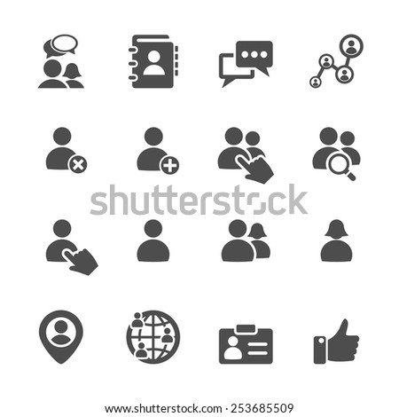 social network user icon set, vector eps10. - stock vector
