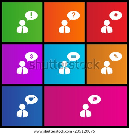 Social network. User silhouette with speech bubble. Comment. Metro style - stock vector