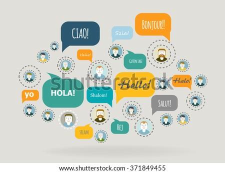 Social Network Vector Concept. Flat Design. - stock vector