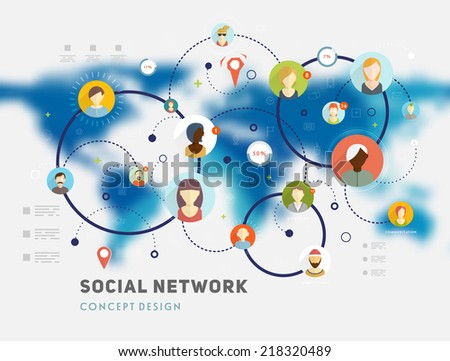 Social Network Vector Concept. Flat Design Illustration for Web Sites Infographic Design. Blurred World Map. - stock vector