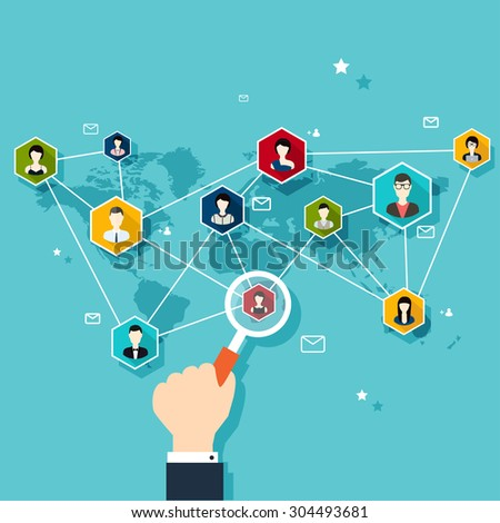Social Network Vector Concept. Flat Design Illustration for Web Sites Infographic Design with human hand with  loupe. Communication Systems and Technologies. - stock vector