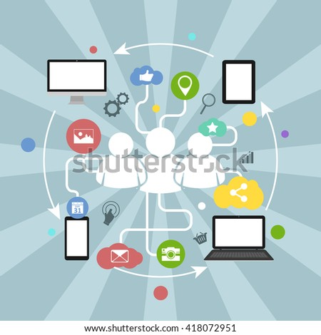 Social network vector illustration with colorful icons, arrows and devices.