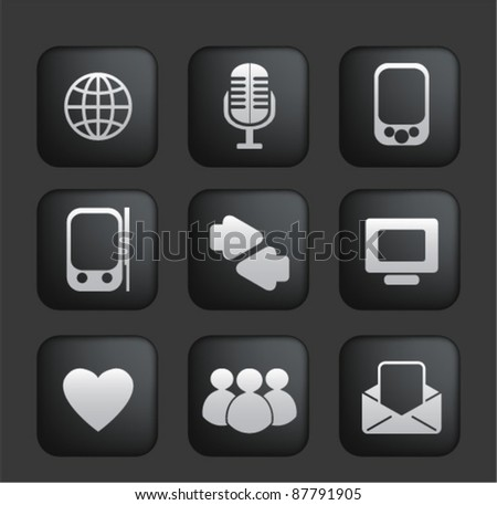 social network & web blog icons set, vector - stock vector