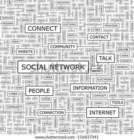 SOCIAL NETWORK. Word cloud concept illustration. Graphic tag collection. Wordcloud collage with related tags and terms. Seamless pattern.  - stock vector
