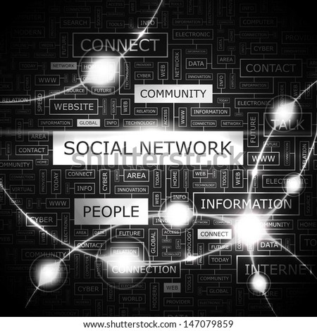 SOCIAL NETWORK. Word cloud illustration. Graphic tag collection. Vector concept collage.  - stock vector