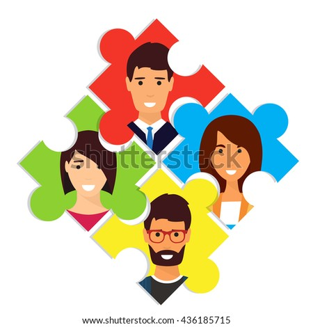 Social network. Worldwide connection, people avatars Vector illustration - stock vector