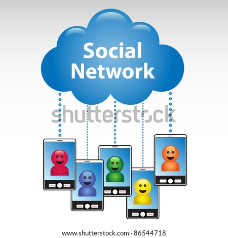 Social networking cloud communication concept. - stock vector