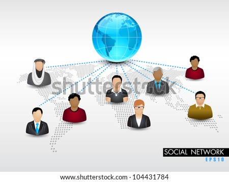 Social networking 3D background with globe and peoples connect with network on world map background. EPS 10. Social networking and social media concept.