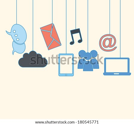 social networking design over  background vector illustration