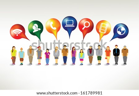 Social networking icon with people vector design - stock vector