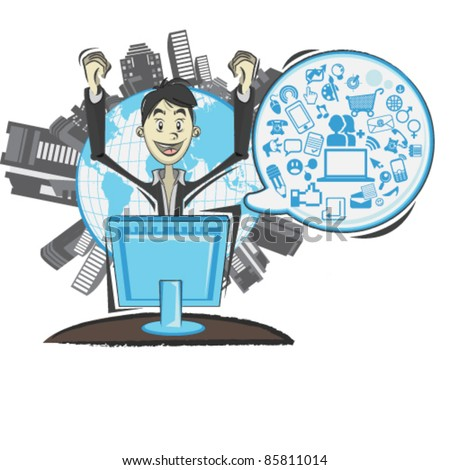 Social Networking Media Man With A Speech Bubble - stock vector