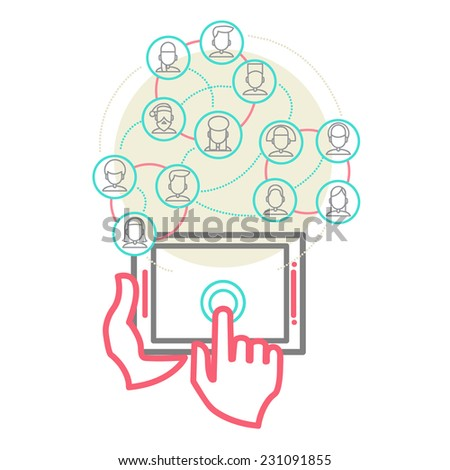Social Networking People Conceptual Design Vector Illustration eps 10 - stock vector
