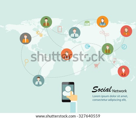 Social Networking People Conceptual, Vector illustration. - stock vector