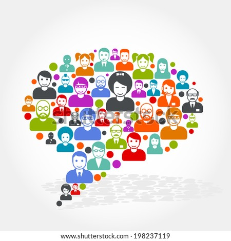 Social networking - speech bubble made of people icons - stock vector