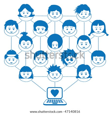 social networking with laptop and kids faces - stock vector