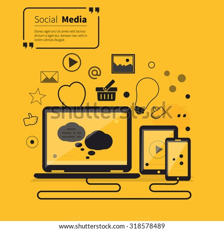 Social networks media online flat style. Communication internet, technology global, website and chat, computer service, society link, smartphone laptop, quotation and inspire and tablet illustration - stock vector