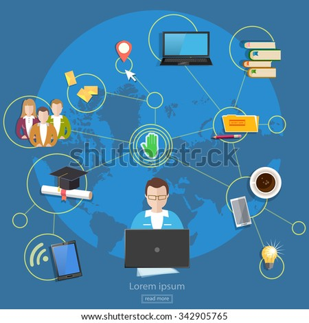 Social networks teamwork people management online education student life concept - stock vector