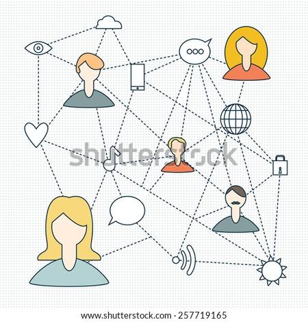 social networks, vector illustration, icon set - stock vector